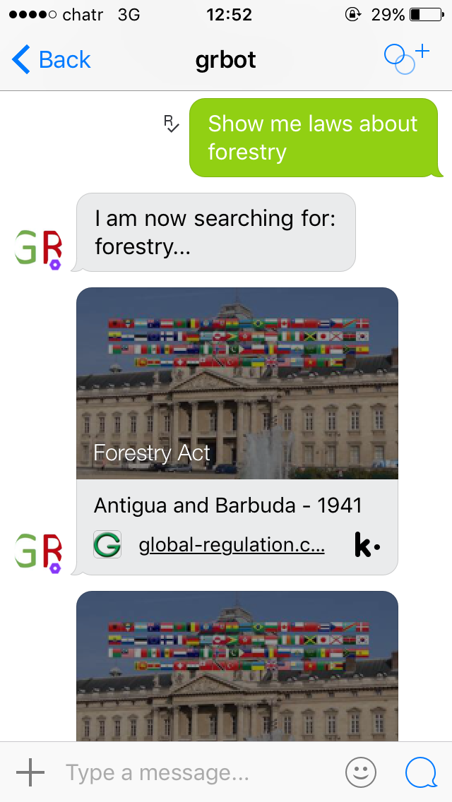 Screenshot of chatbot on iOS